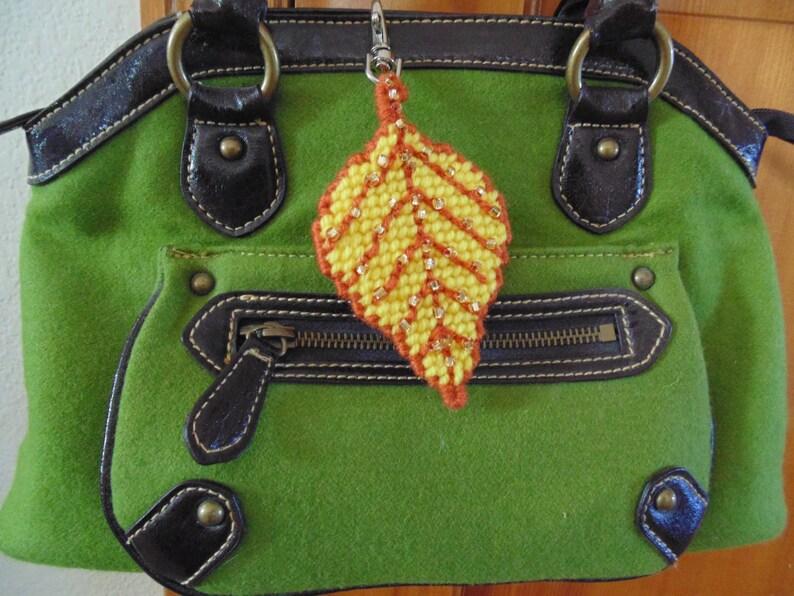 Autumn Aspen Leaf Bag Clip Yellow Leaf Bag Charm Autumn image 0