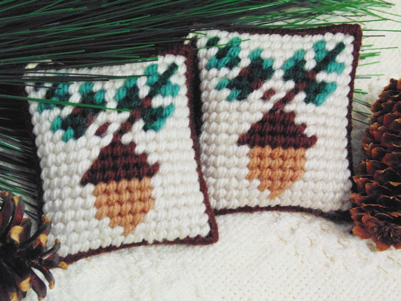 Autumn Acorn Needlepoint Mini Pillows Acorn Ornaments Acorn image 0