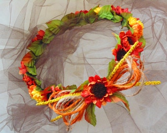 Sunflower Crown, Autumn Harvest Festival Crown, Fairy Tiara, Fall Fairy Tiara, Baby Shower Crown, Gift For Her