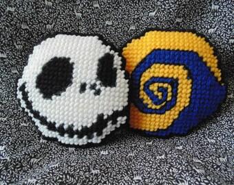 Jack Skellington Ornament, Needle Art Mini Pillow,  Halloween Pincushion, Fan Art, Needlepoint Pincushion, Halloween Art