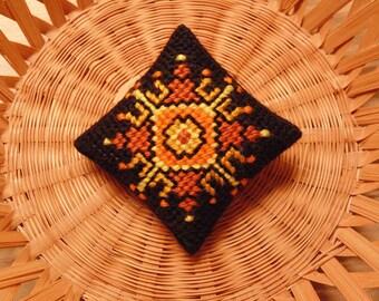 Geometric Sun Pincushion, Sun Ornament, Sun Mini Pillow, Needle Art Sun Cushion