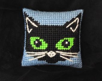 Halloween Black Cat Cushion, Cat Pincushion, Halloween Decor, Black Cat Mini Pillow, Seamstress Gift, Black Cat, Goth Decor