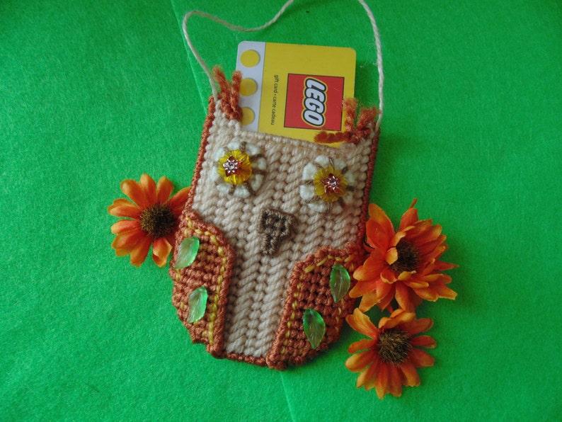 Beaded Needlepoint Owl Ornament  Gift Card Holder Business image 0