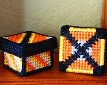 Candy Corn Miniature Gift Boxes, Needlepoint Mini  Boxes, Miniature Halloween Art