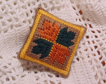 Fall Leaf Pillow, Autumn Mini Pillow, Needlepoint Cushion, Pin Cushion, Needle Keep