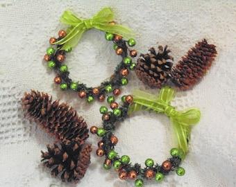 Copper and Green Berries Wreath Ornament, Harvest Berries Ornament, Fall Decor, Autumn Berry Mini Wreath