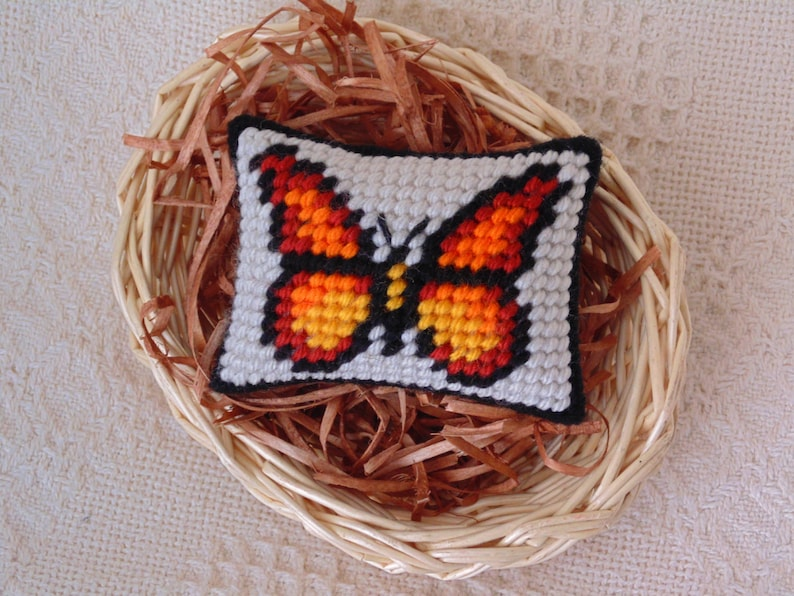 Butterfly Needlepoint Mini Pillow Orange Butterfly Miniature image 0
