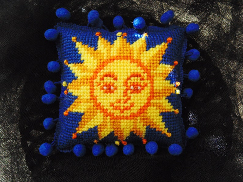 Celestial Sun Pillow Needlepoint Sun Mini Sun Pillow Sun image 0