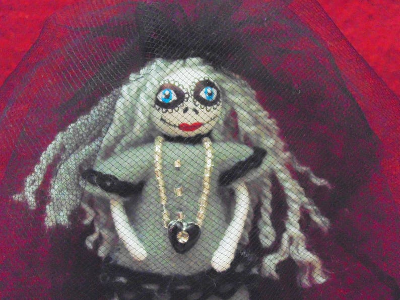 The Grey Lady Day of the Dead Miniature Art Doll Halloween image 0