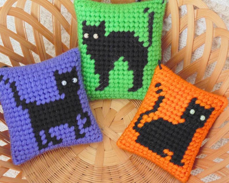 Black Cats Mini Pillows Set of Three Cat Ornaments Set image 0
