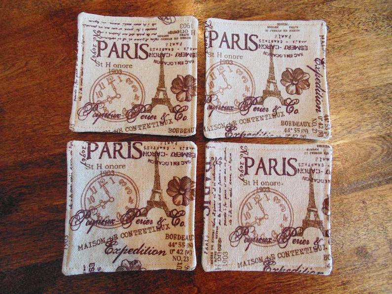 Table Coasters Paris Coasters Linen Coasters Paris Linens French Decor Paris Decor French Linen Coasters Coaster Set Table Linens