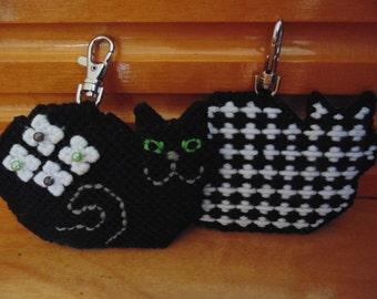 Black Cat Bag Clip, Black Cat Charm, Beaded Cat Clip Charm, Black Cat Bag Accessory, Back Pack Charm, Black Cat Bag Charm, Black Cat