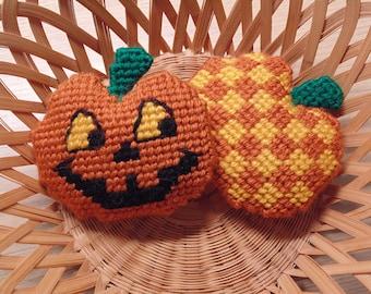 Jack-O-Lantern Mini Pillows, Pumpkin Decor Set,  Halloween Pincushions, Autumn Decor
