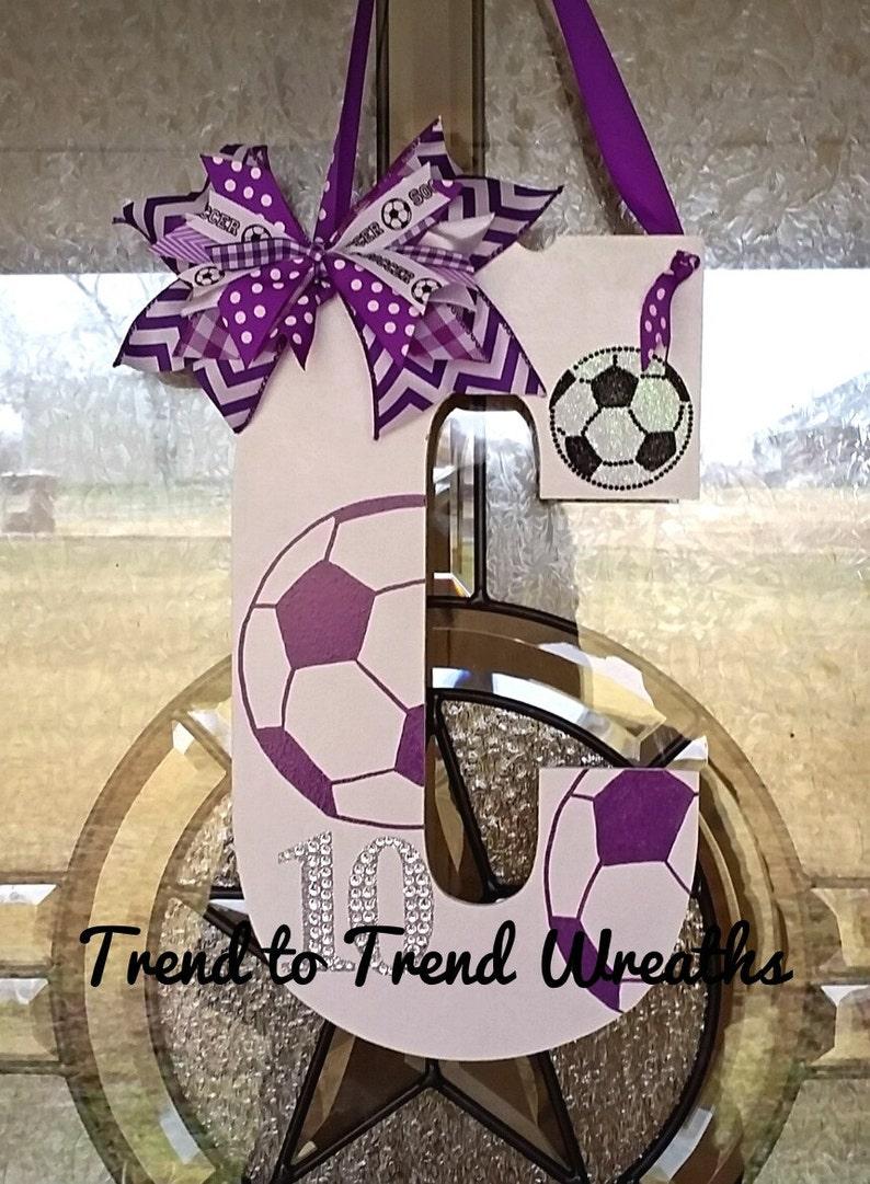Soccer Gift Soccer Door Hanger Senior Gift Soccer Decor Soccer Team Gift Wooden Soccer Letter