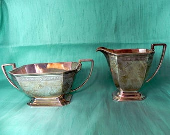 vintage art deco sterling silver creamer & sugar bowl matching set