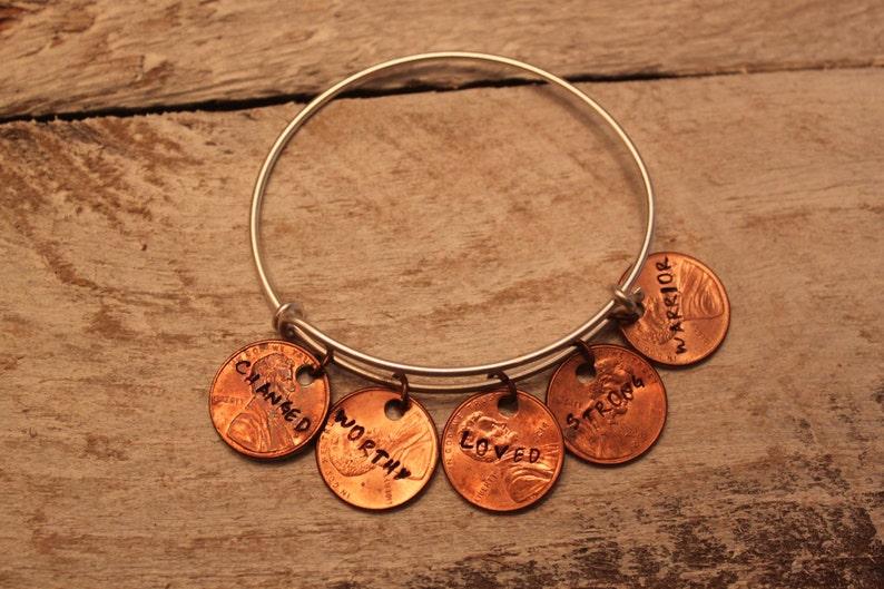 Penny worth adjustable bangle bracelet