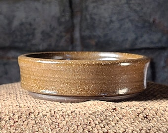Bonsai Pot - Glossy Glaze over Dark Brown Stoneware