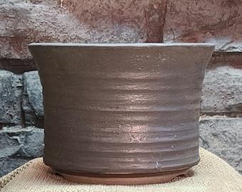 Bonsai Pot - Pebbly Gray Glazed Stoneware