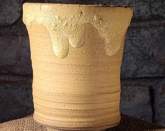 Bonsai Pot - Gold Textured over Matte Gold Glaze Brown Stoneware - Cascade