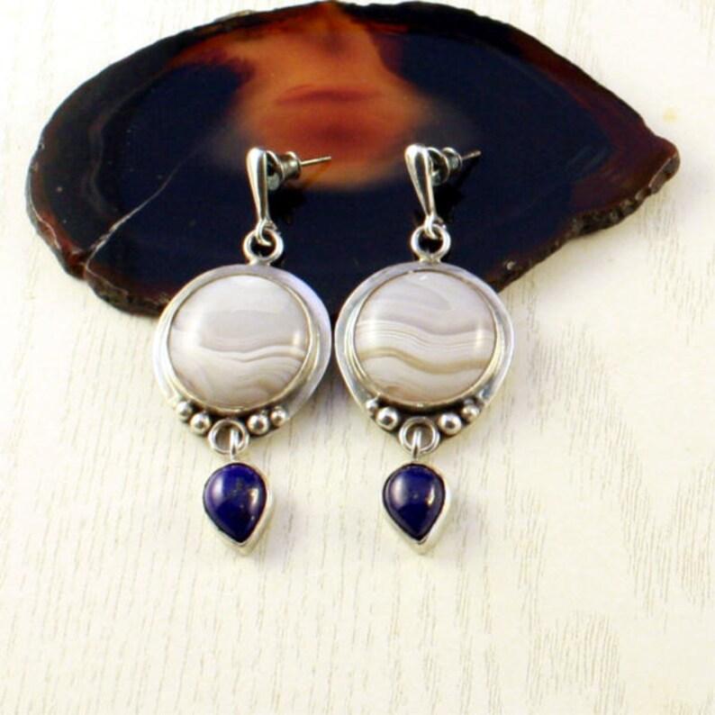 739745060ee13 white agate earrings, lapis lazuli dangle earrings, silver earrings for  women, elegant evening earrings