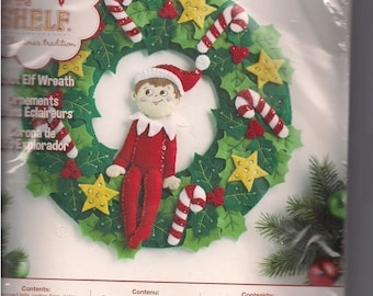 Elf On The Shelf   Scout Elf Felt  Wreath  Bucilla Kit # 86510