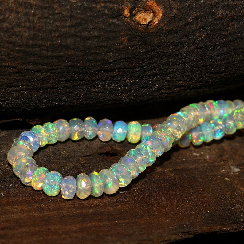 AAA Opal Quality Faceted Opal Beads DDL1086 Opal Beads Good Quality Ethiopian Opal Beads Ethiopian Opal Faceted Strand Fire Opal