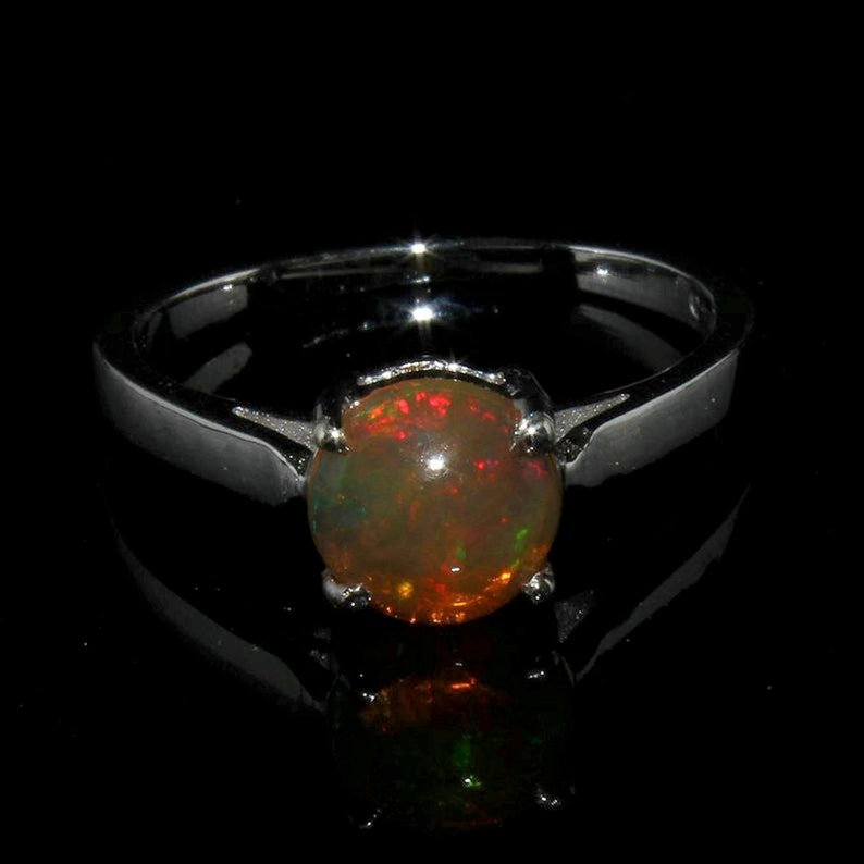 Natural Opal Ring Gift For Her DDL939 Ethiopian Opal Ring Round Opal Ring 925 Sterling Silver October Birthstone Ring Skinny Opal