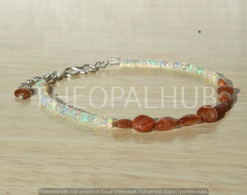 Natural Ethiopian Fire Opal Beads Sunstone Tumble Bracelet Fine Silver DDL161