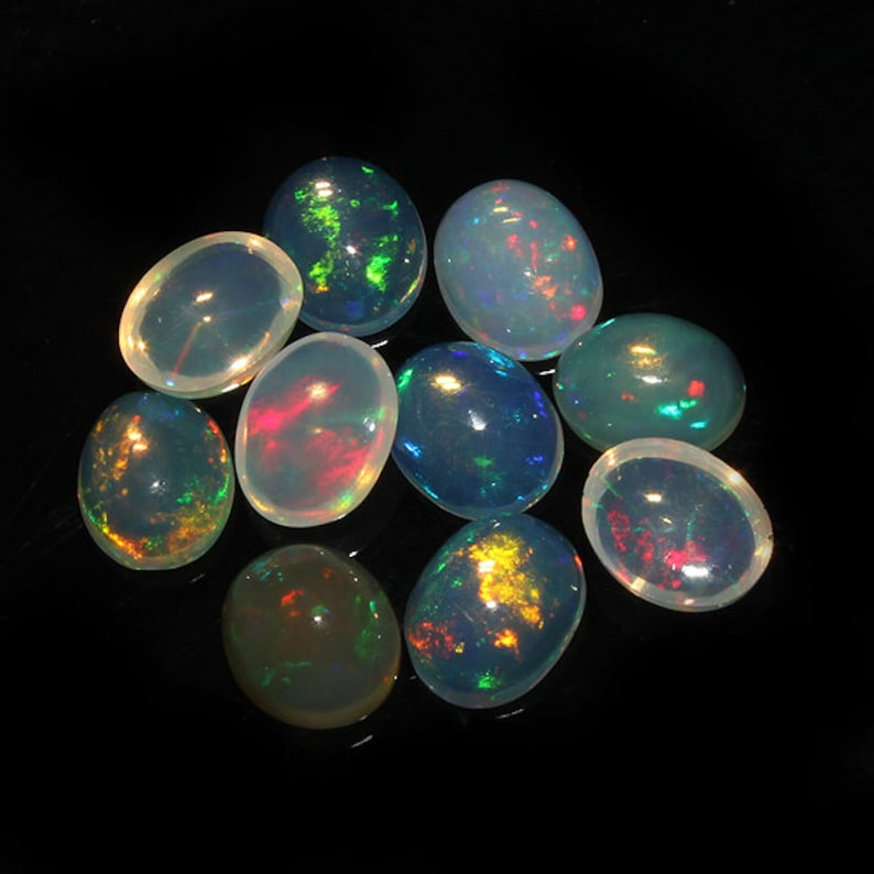 Cabochon lot Welo Fire Opal Gemstone For Jewelry Natural Ethiopian opal Beads 10 X 8 MM Size Opal Cabochon Wholesale Price