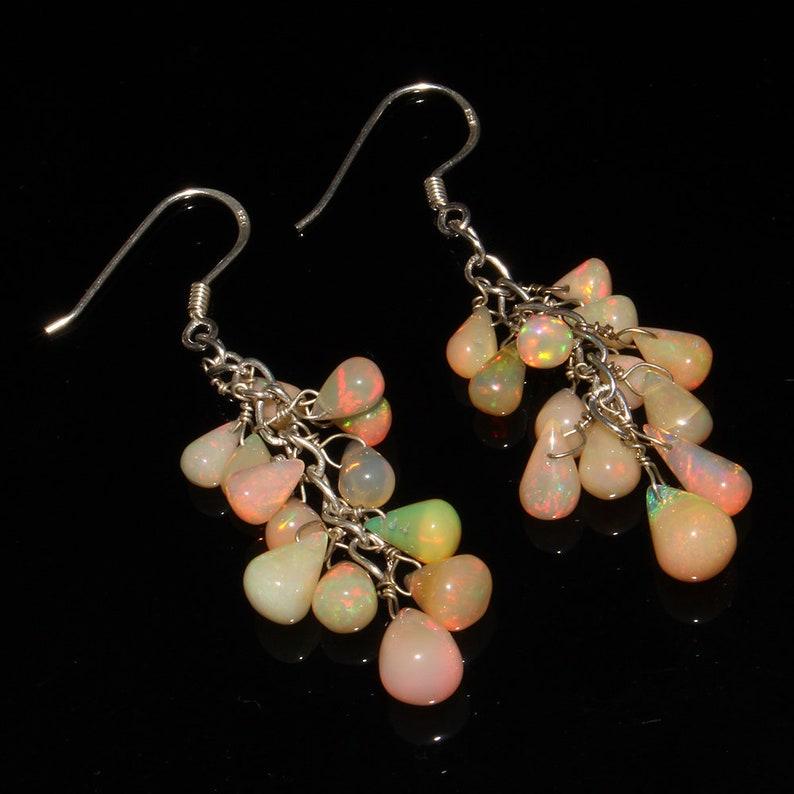 Stunning Opal Natural Ethiopian Opal Opal Earrings Opal Pear Drops Earrings Opal Jewelry