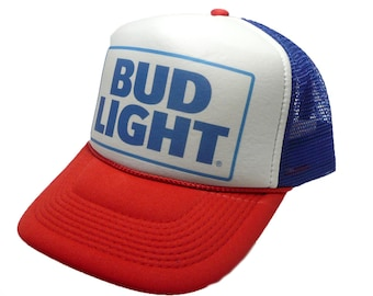Vintage Bud Light beer Hat trucker hat snap back hat red white blue new  unworn cap Budweiser hat 0625da7cad25