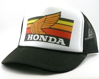 Honda motocross Trucker hat mesh hat snapback hat new adjustable pick color  Vintage style hat 0af8a59f5d5