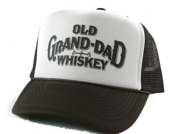 Old Grand-Dad Whiskey hat Trucker Hat Mesh Hat Snap Back Hat brown cfa545f46215