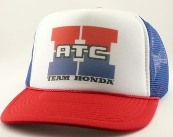 5fe92458f72 Honda ATC hat Trucker hat mesh hat snapback hat new adjustable pick color  Vintage style Team Honda hat