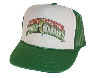 bc002349b18 Vintage Mighty Morphin Power Rangers Hat Trucker Hat snap back adjustable  one size fits most green