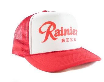 Rainier Beer hat Script Trucker Hat mesh hat snapback hat red new adjustable 9bbacde0bde7