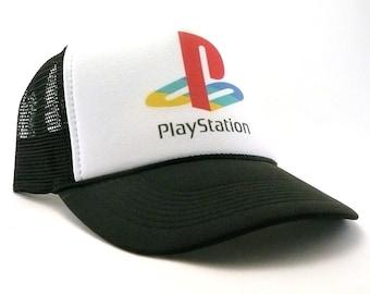 Playstation trucker hat mesh hat new adjustable choose color hat vintage  video gamer hat ef215b18c753