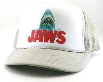 e672d28bd22 Jaws Trucker Hat Mesh Hat Snap Back Hat new movie hat