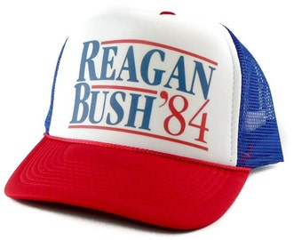 95bb1bd59f443 Reagan Bush 1984 hat Trucker Hat Mesh Hat Snap Back Hat rwb