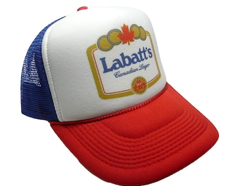 8e64ce0a36cb3 Vintage Labatt s lager beer hat trucker hat adjustable snap back racing hat  red white blue new unworn