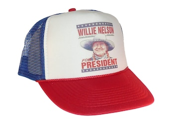 0f10a1ecb47 Willie Nelson for President Hat Trucker Hat snap back adjustable one size  fits most red white blue