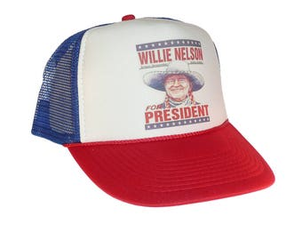 Willie Nelson for President Hat Trucker Hat snap back adjustable one size  fits most red white blue a6e7b70703f
