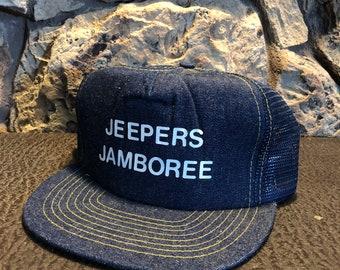 8d8823a6249 Vintage Jeep hat Trucker hat Jeepers Jamboree Denim front dad hat snap back  hat otto brand excellent!