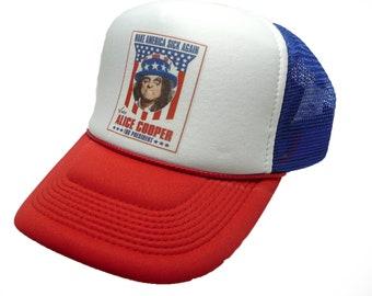 Vintage Alice Cooper For President Hat trucker hat snap back hat red white  blue new unworn cap 615dd7b8926f