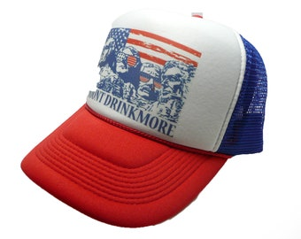 9ac0072a22f Vintage Mount Rushmore Hat trucker hat snap back hat red white blue new  Mount Drinkmore party hat