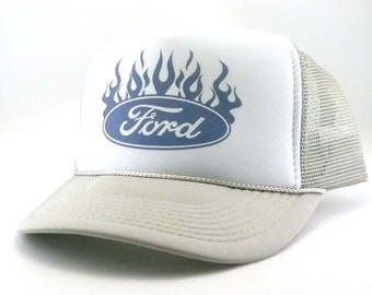 16c5bbc57d88a Ford Trucker Hat Mesh Hat Snap Back Hat blue flame hat