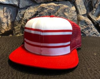 603cc00b96e4c0 1970's Vintage Red Stripe trucker hat mesh hat snap back hat Original AJD  hat made in the USA baseball hat