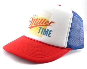 8b59012dfe2 Miller Beer Trucker Hat mesh hat snapback hat RWB new adjustable It s  Miller Time vintage
