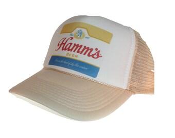 493020ede1465 Hamm s beer hat Trucker Hat Snap Back Hat adjustable tan