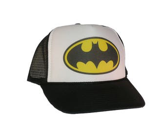 Vintage Batman Hat Trucker Hat snap back adjustable one size fits most black 15da478d543